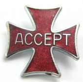 Accept - 'Cross' Vintage Enamel Badge